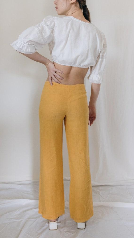 1990s Linen Mid Rise Marigold Pants - image 6