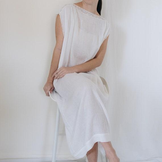 Edwardian White Cotton Sheer Slip Dress