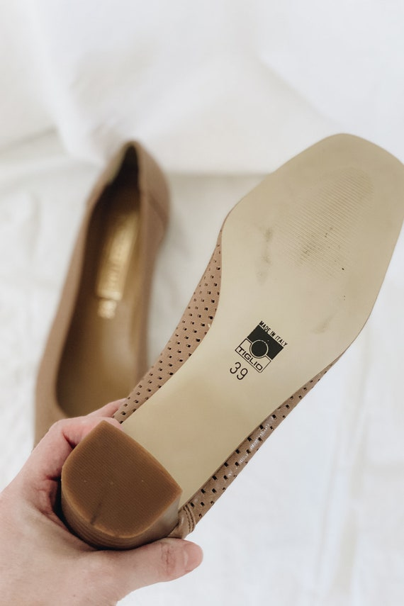 Leather Tan Square Toe Low Heels - image 4