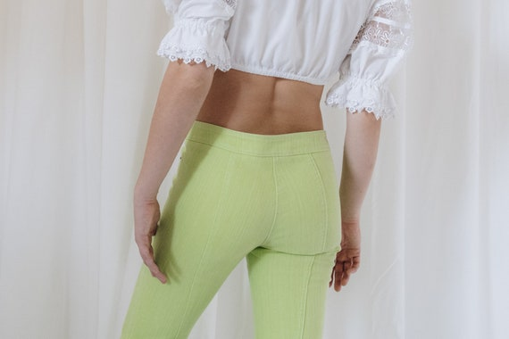 Y2K Lime Green Cotton Low Rise Flared Pants