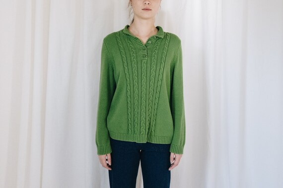 Cotton Green Knit Henley Pullover