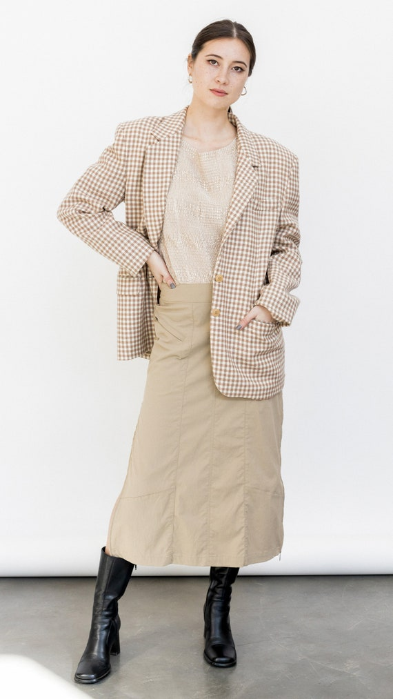 Vintage 1980s Neutral Plaid Blazer, Oversized Beig