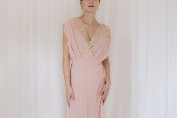 Silk Pink and Cream Lace V Neck Slip Dress