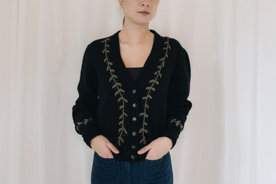 Wool Black Floral Embroidered Cardigan