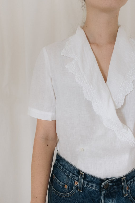 White Linen Double Breasted Blouse - image 3