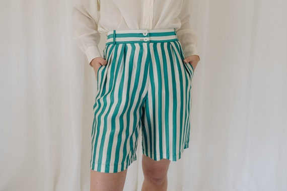 1980s Silk Cream and Green Striped Shorts with Ela