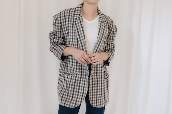 Wool Checkered Oversized Blazer