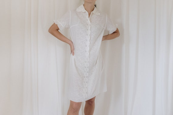 White Cotton Embroidered Button Down Dress