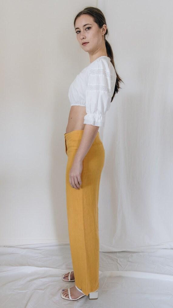 1990s Linen Mid Rise Marigold Pants - image 4