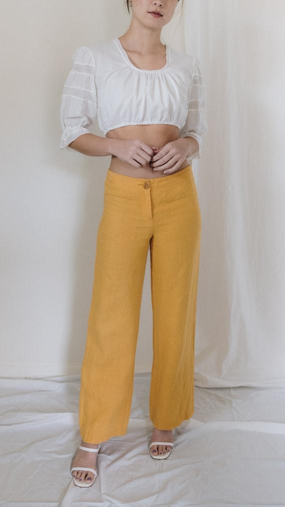 1990s Linen Mid Rise Marigold Pants - image 2