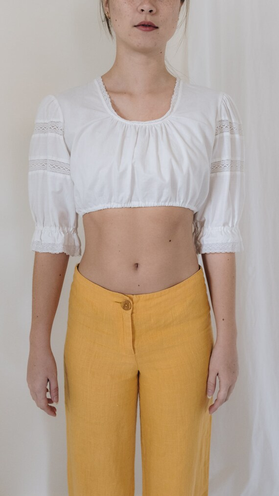 1990s Linen Mid Rise Marigold Pants - image 3