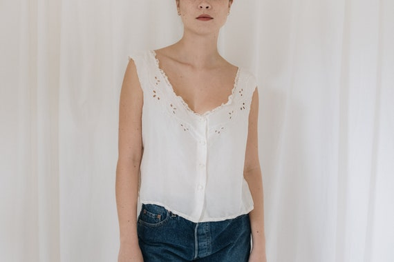 Silk White Button Down Tank