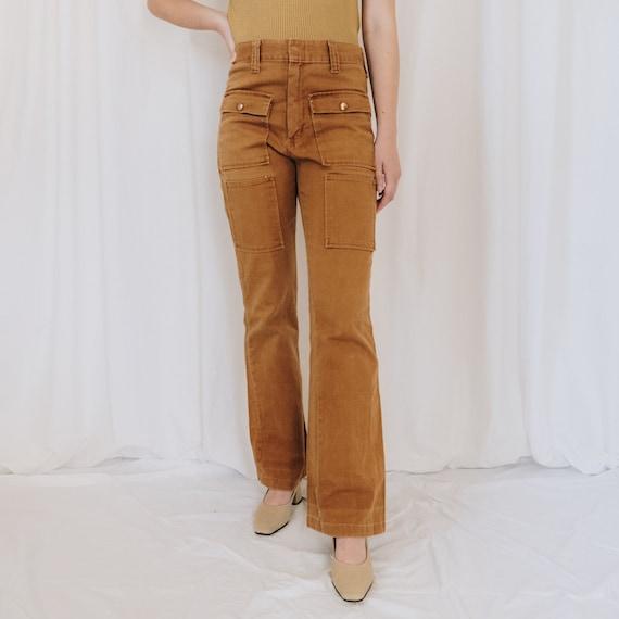 Cotton Ochre Wrangler Flared Cargo Jeans
