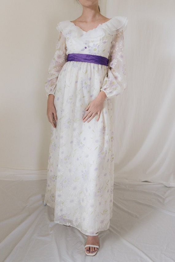 1970s Semi Sheer Floral Ruffle Puff Sleeve Maxi Dr
