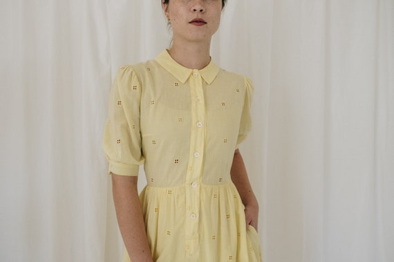 Yellow Cotton Puff Sleeve Dress