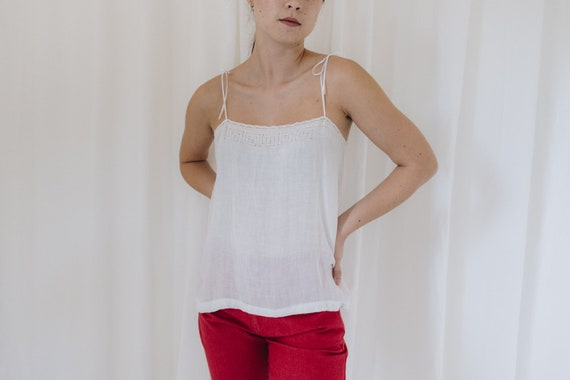 Edwardian Paper Thin Cotton White Tank