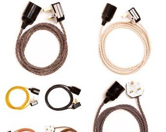 Twisted fabric plug light pendant - 2 metre cable - Black E27 lamp holder - Various colours - UK plug fitted