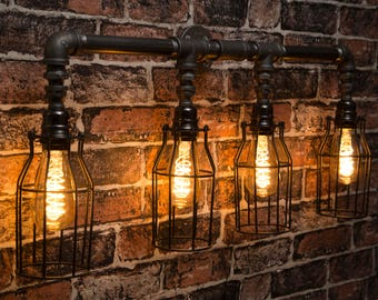 industrial pipe lighting. Simple Pipe Industrial Black Iron Wall Pipe Caged Lighting Chandelier  Choice Of Sizes  Cages Intended Pipe