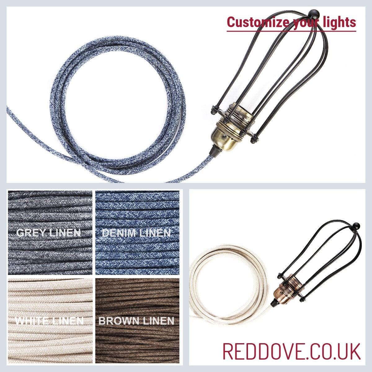 Vintage Industrial 3 Metre Cage Light Plug Pendant Inline Etsy Uk Wiring Colours Grey
