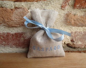 Bag for sweets natural linen personalized name in sky blue and light blue ribbon