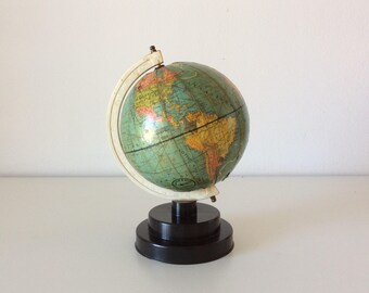 Vintage Tiny Earth Globe From The 70's, World Globe, Greek Earth Globe, Office Decor.