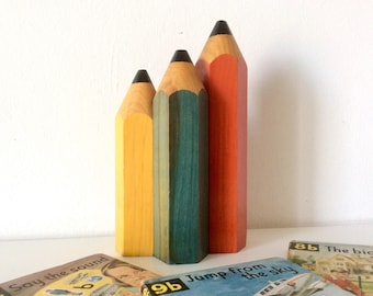 Vintage Wooden pencils Lamp, Kids Bedroom Accent Lamp, Retro Decorative Lighting, Home Decor.