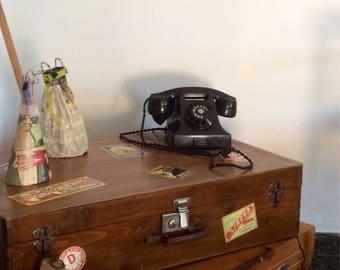 Vintage Ericsson Rotary Phone, Black Bakelite Phone, Antique Telephone, Black Rotary Phone, Classic Desk Phone, Mid century Phone.