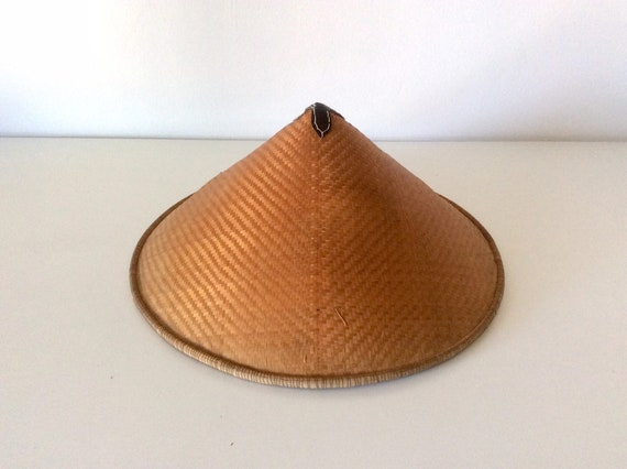 Antique Hand Crafted Chinese Sun Hat, Vintage Asia