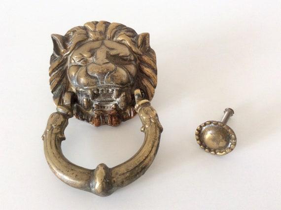 Vintage Brass Lion Head Door Knocker Ornate Door Knocker Antique Door Handle Heavy Cast Brass Door Hardware Home Decor