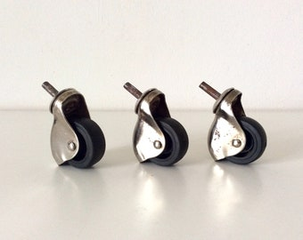 Vintage Caster Wheels, Trolley Bar Casters, Tea Cart Casters, Industrial Metal Casters, Swivel Wheels, Mid Century Casters.