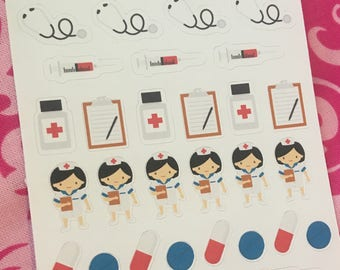 Nurse Stethoscope Clipboard Pills Syringe Planner sticker set  for use with Erin Condren Life Planner, Happy Planner, Kate Spade, Filofax.