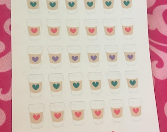 Coffee Love Planner Sticker Set  for use with Erin Condren Life Planner, Happy Planner, Kate Spade, Filofax.