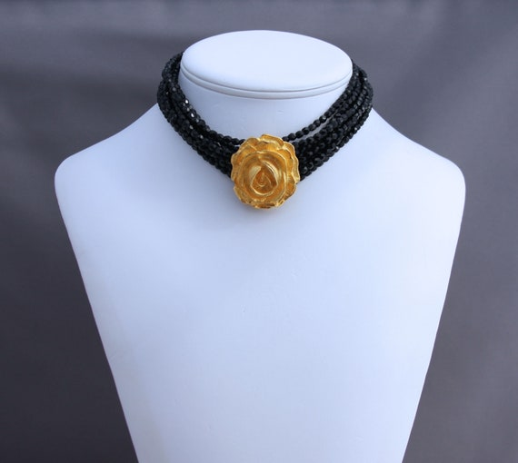 Vintage Black and Gold Rose Choker Necklace, Sexy