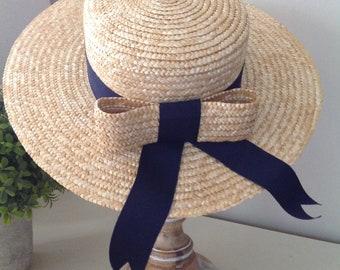 91a96454a5508d Rare, Laura Ashley hat, vintage hat, straw boater, summer hat, grosgrain  ribbon, vintage ladies hat, 80's hat, vintage straw hat, wedding