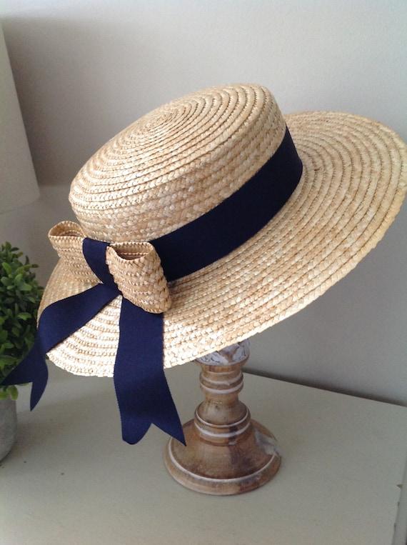 Rare, Laura Ashley hat, vintage hat, straw boater… - image 7