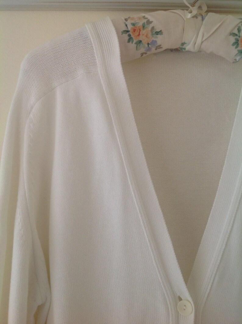 White cardigan vintage cardigan ladies sweater cotton top  463a6ddb8