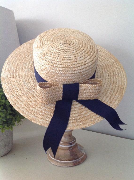 Rare, Laura Ashley hat, vintage hat, straw boater… - image 1