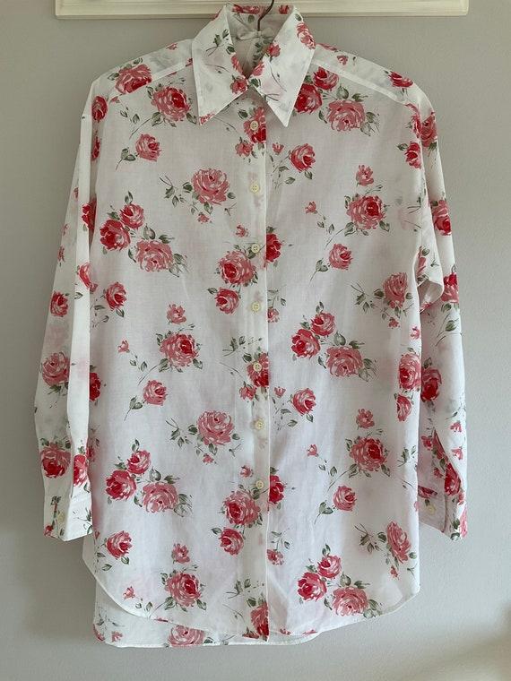 80/'s women/'s button down disco shirt oversize shirt retro blouse 90/'s pattern shirt long sleeve Abstract print blouse Size L summer
