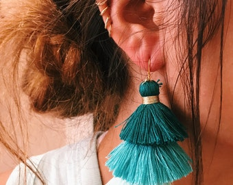 teal ombre earrings