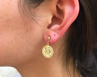 Vintage Dollar Coin Earrings Drop Dangle Earrings Charm Coin Ear Stud Jewelry CA