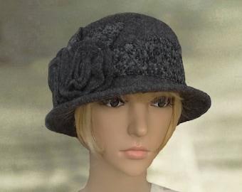 Cray felt hats, Felted wool hats, Felt womens hat, Dark gray wool hat, Ladies felt hat, Wool hat for lady, Women's felt hat, Woo felted hat