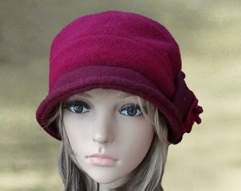 Hat felted wool, Warm brimless hat, Wool winter beret, Lilac beanie hat, Wool felt toque hat, Green winter hat, Olive wool hat lady