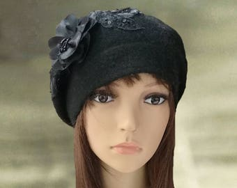 4751a0f9fd1ca Wool beret applique