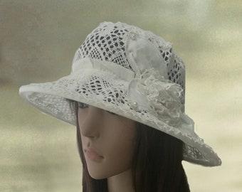 Wide brimmed sun hat, Linen womens hats, Cotton summer hats, Lace cotton hat lady, Summer hats women, Suns hats for women, Sun linen hats
