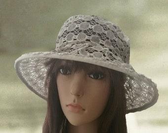Cotton cloche hats, Linen womens hats, Summer women's hat, Beige linen hats, Lace cotton hats, Summer fabric hats, Sun hats for lady