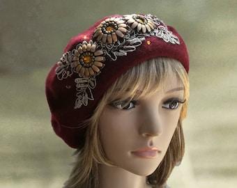 Womens winter beret, Felted wool beret, Felt women's beret, Felt beret winter, Vinous felt beret, Wool beret ladies, Big size beret hat,