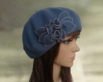 Blue french beret, Stylish felt beret, Felt wool beret, Beret with applique, Classic felt beret, Felted wool beanie, Embellished beret