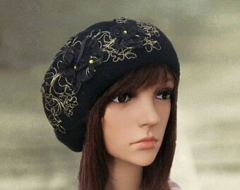 Black french beret, Stylish felt beret, Felt wool beret, Beret with applique, Classic felt beret, Felted wool beanie, Embellished beret