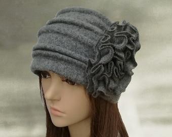 Felted wool beanie, Felt wool hats, Womens winter hats, Embellished wool hat, Winter warm hats, Winter ladies hat, Wool hat for women,