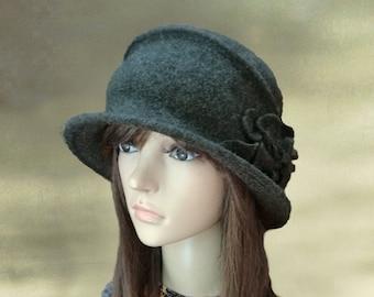 Felt hats for lady, Gray felt hats, Womens felt hats, Felted wool hats, Ladies felted hats, Womens hats trendy, Embellished hats, Gray hat